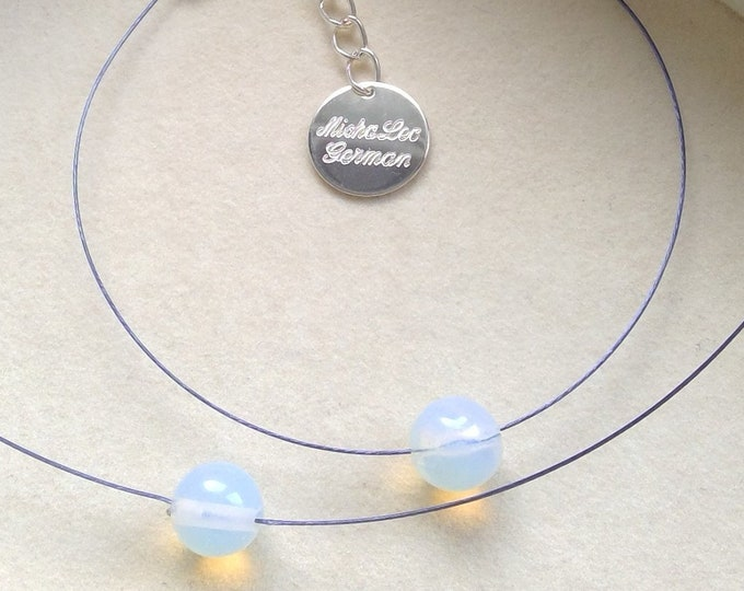Mondstein Perlen Set Collier & Armband