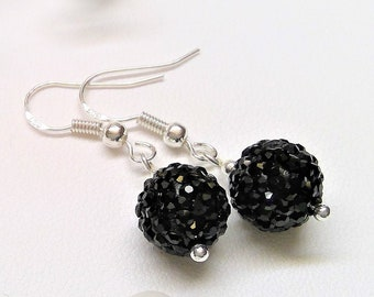 925 sterling silver Crystal beads earrings, black balls, very striking, modern, fashionable, gift for girlfriend