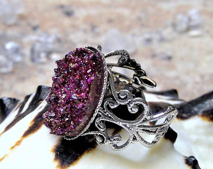 Ring silver with ice crystals in wine red purple, vintage