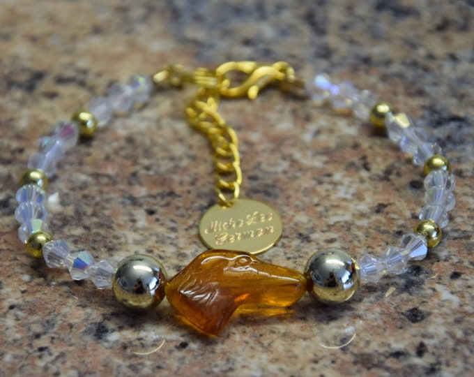 Amber greyhound bracelet 22k gilded, with bicone crystals, very classy and fancy, for dog lovers, exclusive, gift box possible