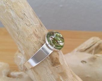 Silber Ring mit echtem Holz und Moos