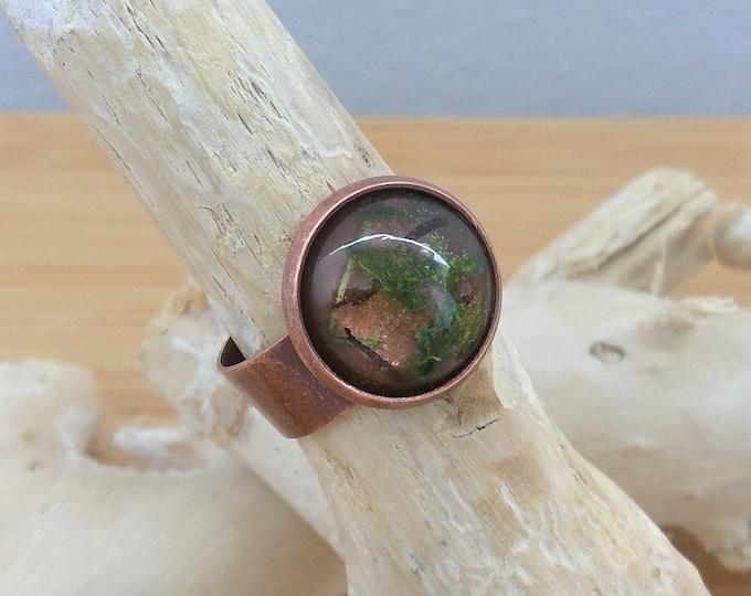 Kupfer Ring mit echtem Holz und Moos