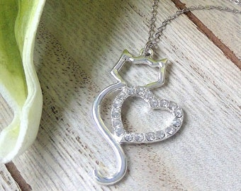 925 Sterling Silver Necklace with Heart & Cat Pendant, Chain in Platinum look, beautifully shimmering, 45 cm long, girl Necklace, gift box