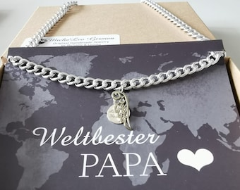 Men's silver tank necklace with angel wings pendant, in gift box, gift for father, puppy dad