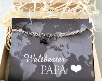 Men bracelet, 316L surgical stainless steel, rope chain, with high quality relief bead greyhound head, in gift box, gift for father