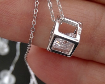 925 sterling Silver Zirconia cube necklace, simply modern tender and yet fancy and exclusive! 45 cm long gift wrapping possible