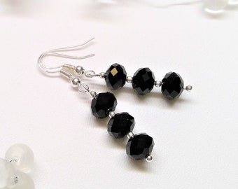 925 sterling silver earrings with black glass beads