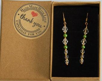 Grüne Perlchen Ohrringe 18k vergoldet