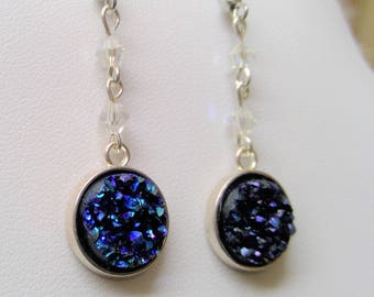 Silver earrings with Nightblue ice crystals