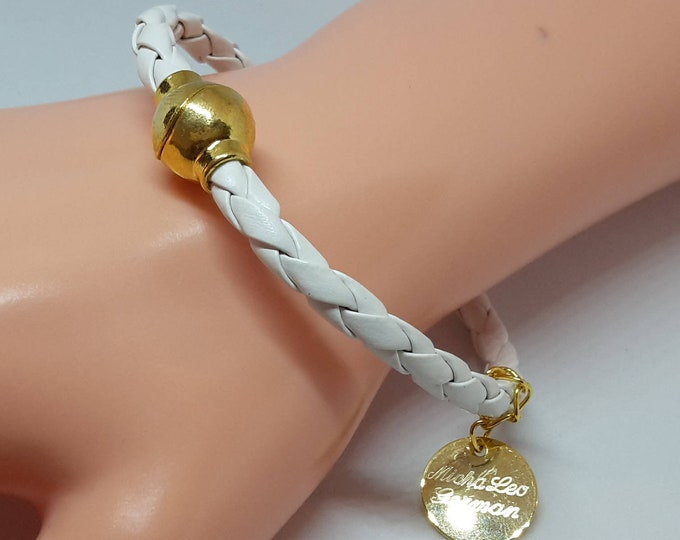 Vintage leather bracelet, with gold plated magnet clasp, white leather braided, elegant for women's women girls, gift wrapping, box