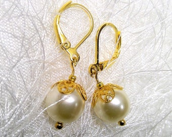 Golden Pearl earrings Wedding Bridal Jewelry
