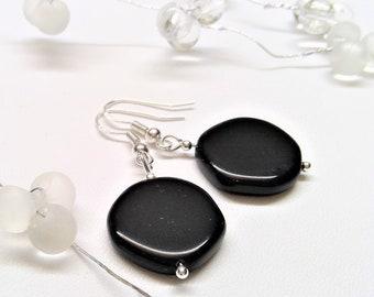 925 St. Silber Ohrringe mit schwarzen Opak Steinen