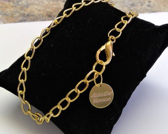 22k gold-plated Herrren bracelet, size customizable, on request in gift box