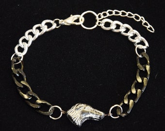 Bracelet for men, tank chain silver black, with glass cut bead in greyhound shape, pet gift, unisex, statement