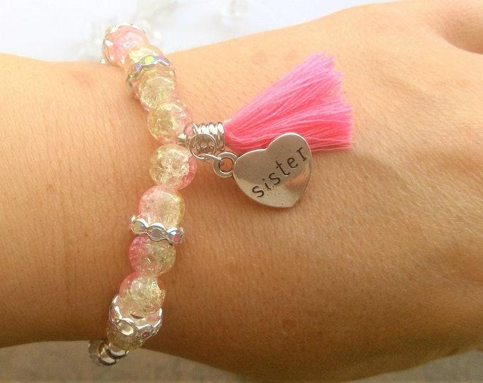 Schwester Armband mit Herz Anhänger
