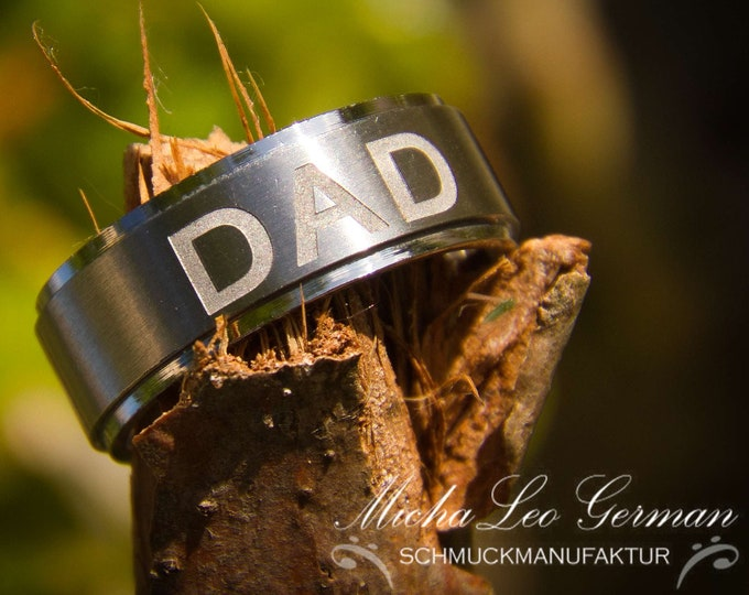 Edelstahl Ring mit Gravur, DAD, Love You Dad