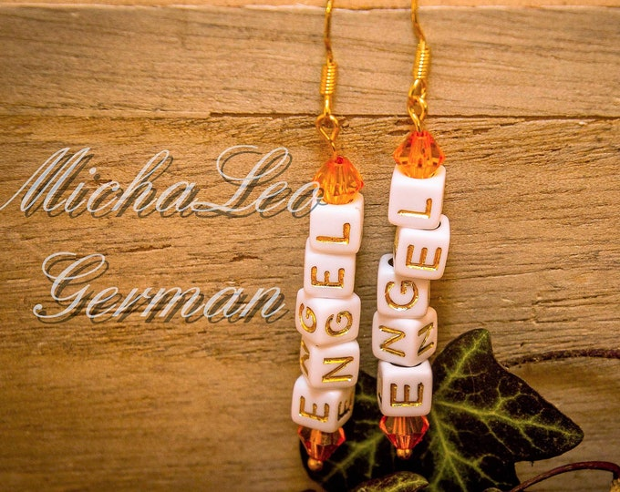 "22k gilded hanging earrings with letter beads text ""Angel"" and bicon crystals in gold-orange color, great gift, PERSONALISIERBAR"