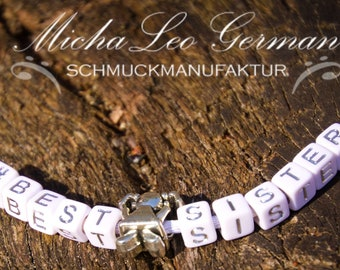 925 Silber Satin Wickelarmband & Halskette # BEST SISTER