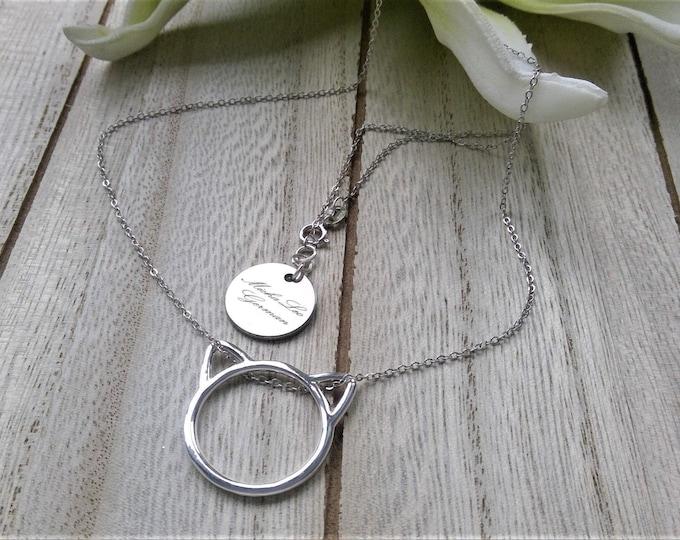 925 Sterling Silber Halskette mit Katzen Anhänger