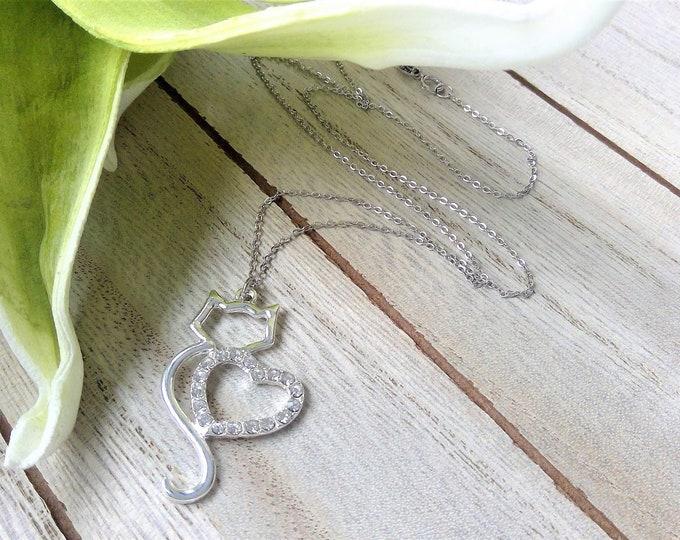 925 Sterling Silber Halskette mit Herz & Katze Anhänger