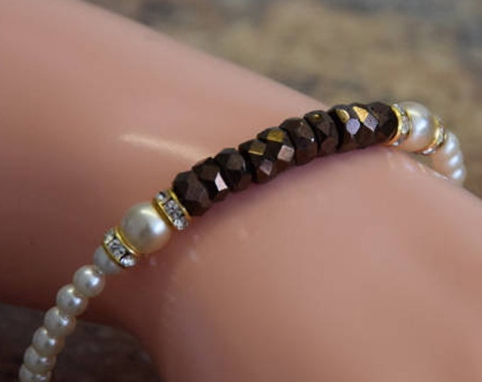 Exklusives Vintage Armreifen aus Böhmischen Glassschliff Perlen in bronze