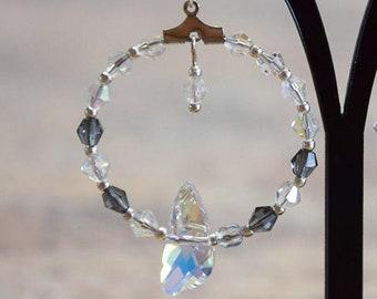 Earrings hoops, 925 sterling silver with black diamond crystals, design very noble elegant striking playful, for women ladies Girls