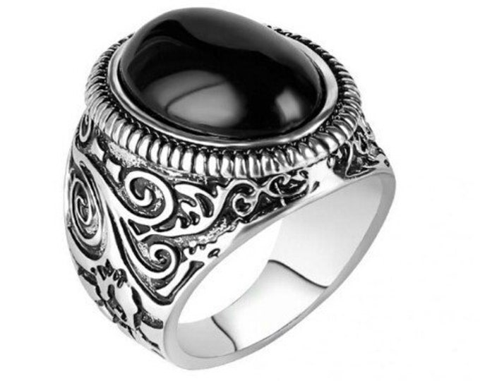 Vintage Ring Antik Silber mit schwarzem Resin Achat