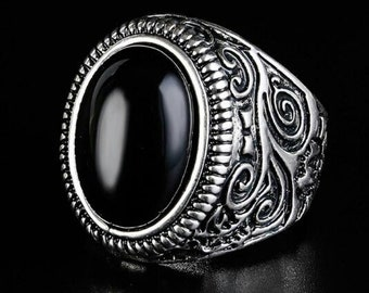 Vintage Ring Antique Silver with Black Resin Stone in Achat Style, Men Jewelry Massively, UNISEX Statement Jewelry for Men, Boys