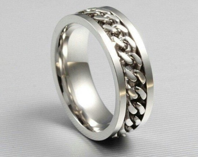 Ring finger ring for men mens, chain ring, 316l Stainless steel, unisex, plain Modern Elegant