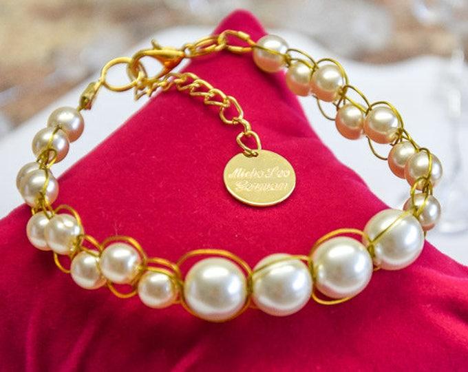 22k Gold Hand geflochtetes Armband mit Elfenbein Perlen