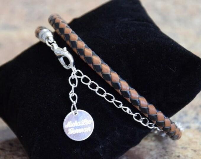 echt Leder Wickel Armband mit Silber Kettchen