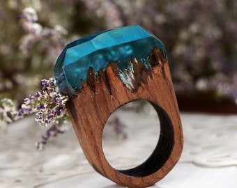 Natural walnut wood resin ring in mountains landscape optics, size 21/US 9.5, trend 2019, gift for man, unisex, crystal resin