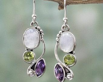 Natur Mondstein Ohrringe aus 925 Sterlin Silber