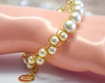 22k vergoldete Armband mit Elfenbein Perlen handgeflochten