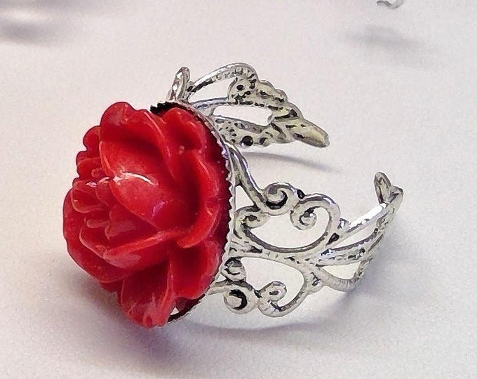 Vintage ring antique silver with red resin rose, very beautiful floral design, filigree handmade, nature, trend, gift box possible, granny