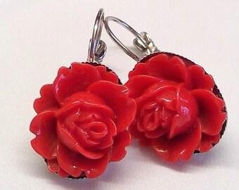 Ohrringe Hänger rote Rosen