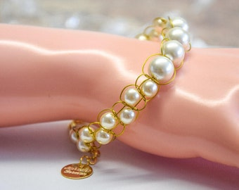 22k gold hand braided bracelet with ivory beads, made of gilded jewelry wire, very classy and elegant, Christmas gift for mom grandma