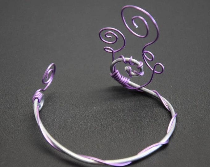 Design Ladies bracelets Silver bracelet with lilac element floral noble chic