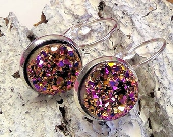 Earrings Pendant silver plated with ice crystals in gold claret, design very modern playful romantic, perfect as a gift