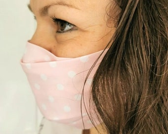 High quality face mask made of eco cotton with wire, filter bag, respiratory protection, reusable,washable, pink, blue, white with dots