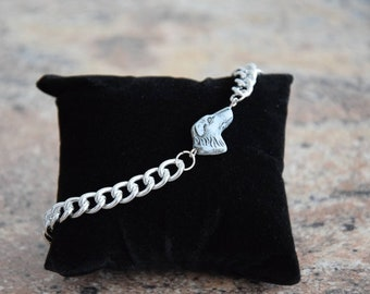 Greyhound silver armoured necklace bracelet for men, with high quality glass cut pearl silver-grey, statement for dog lovers, gift box