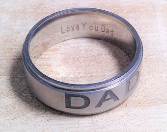 Stainless steel ring for men, father, with engraving, DAD, Love You Dad, gift for dad, US size 9 and 11, gladly in gift wrapping, statement