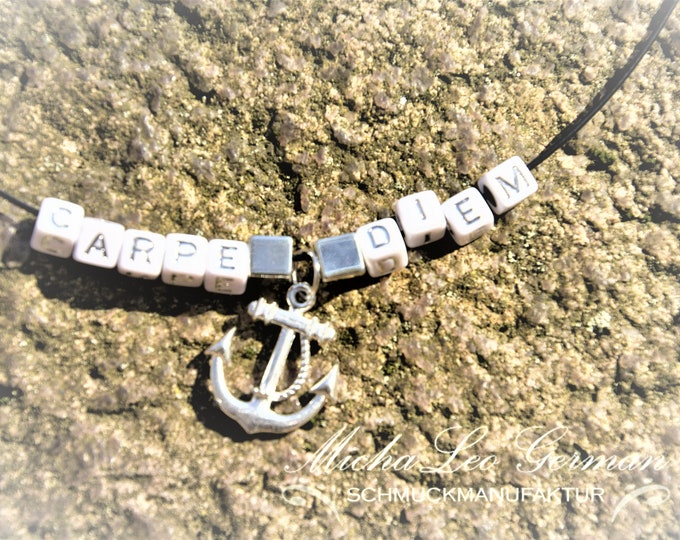 925 sterling silver CARPE DIEM neck coliler with high quality letter beads MichaLeo and anchor pendant, stainless steel screw cap