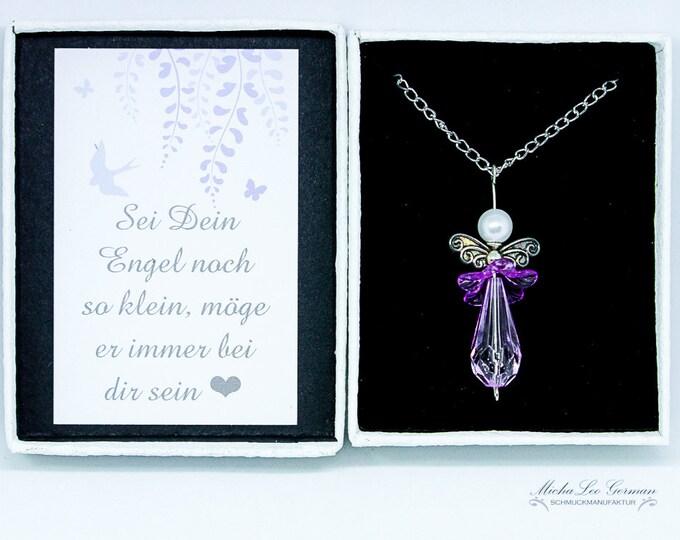 Lila Engel mit 80 cm langer Halskette