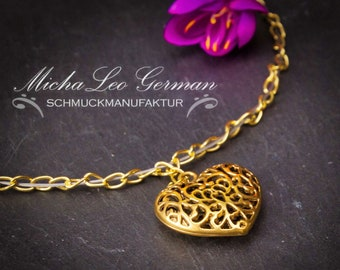 22k gold Plated Stainless steel necklace, Necklace, solid brass Heart, filigree worked, classy, Victorian, gift box, for Women