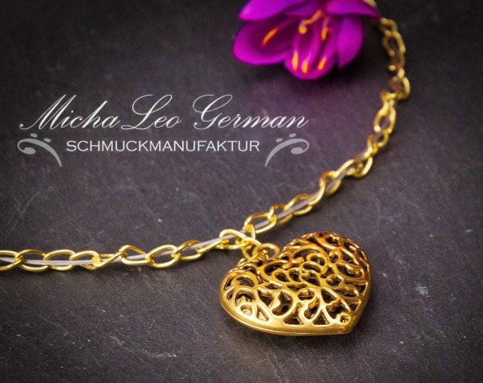 22k vergold. Edelstahl Halskette Herz
