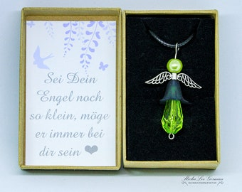 Mint green beaded angel on leather strap in gift box with lovely saying