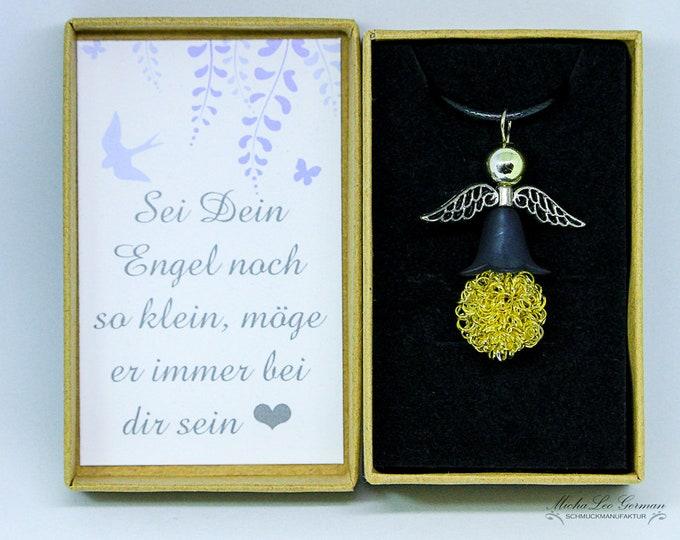 Goldendraht Perle Engel auf Lederband