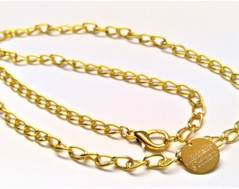 Stainless steel men's necklace 22k gold plated, 60 cm long, solid, plain, length customizable, on request in gift box