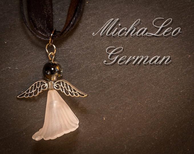 Edle Engel Halskette mit Crackle Perle
